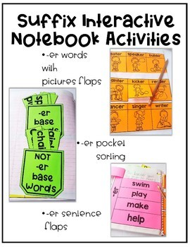 Suffix -ER Interactive Notebook | 5 Differentiated Activities for Suffixes