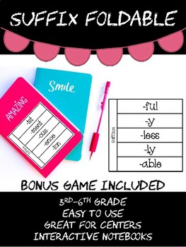 Suffix Foldable and Matching Game Activity