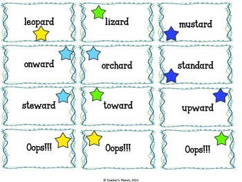 Suffix Games - Oops!!! OR, AR, ER, ARD and WARD words