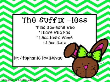 Suffix Less Easter (Find Someone Who, I Have Who Has, Board Game, Quiz)
