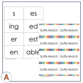 Suffix Match - Interactive Notebook Pages & Matching Game