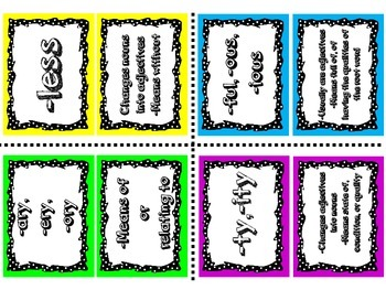Suffix Match-Up Concentration Game-32 cards- Word Study