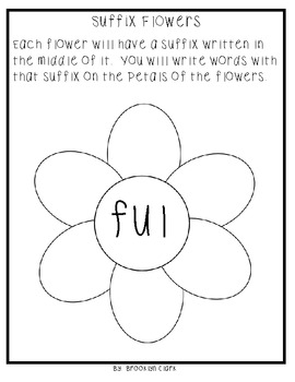 Suffix Packet - Notes, Guided Practice, and Flower Crafts