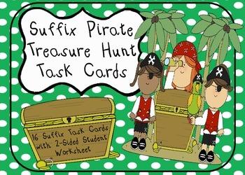 Suffix Pirate Treasure Hunt Task Cards