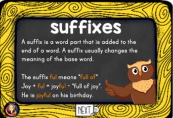 Suffix Practice Digital Boom Task Cards