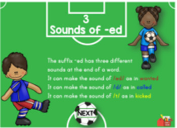 Suffix Practice Sounds of ed Digital Boom Task Cards
