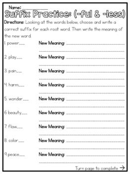 Suffix Practice (-ful & -less)