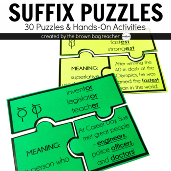 Suffix Puzzles {30 Puzzles for Middle Grades}