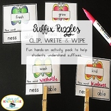 Suffix Puzzles Spring Themed Write & Wipe Cards