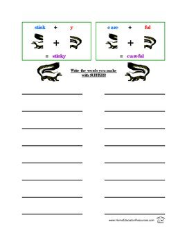 Suffix Skunks Spelling Rules Activity