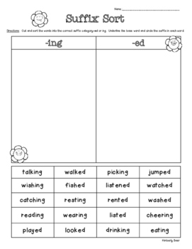 Suffix Sort -ed and -ing Suffixes for Past and Present/Future Tense
