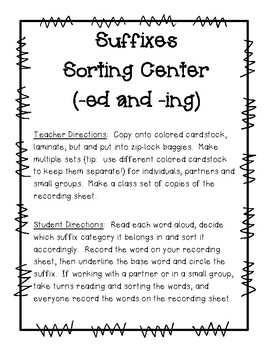 Suffixes Sorting Center (-ed and -ing) and Recording Sheet