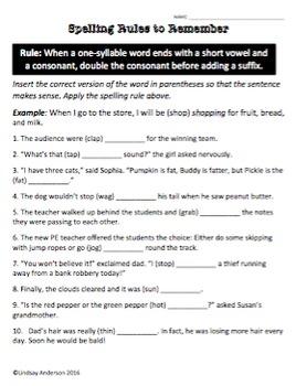 Suffix Spelling Rule Activities