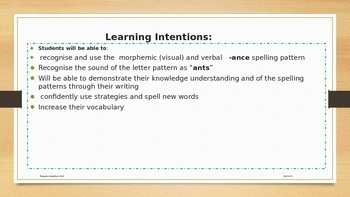Suffix Spelling ( -ance)