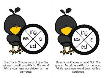 Suffix Spin Task Cards (-ed, -ing, -s, -es)
