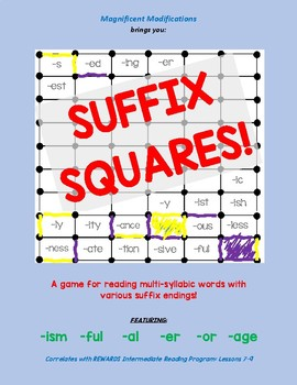 Suffix Squares-Reading Multisyllabic words w/ -ism; -ful; -al; -or; -er; -age