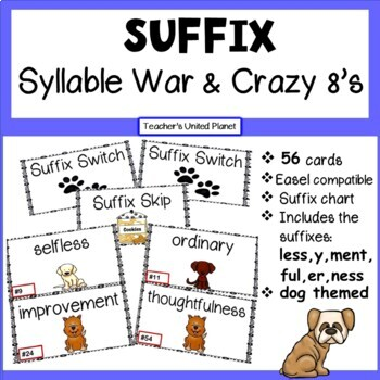 Suffix Syllable War and Crazy 8's! Two games in one!
