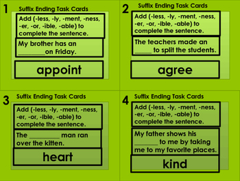 Suffix Task Cards (28) (less, ly, ment, ness, er, or, ible, able)