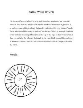 Suffix Word Wheels