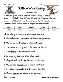 Suffix Worksheet