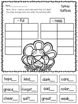 Suffix Worksheets and Game- Thanksgiving