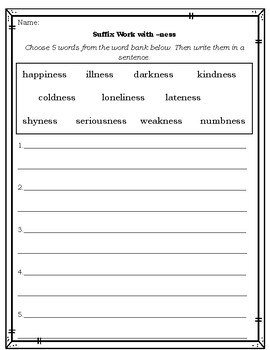 suffix worksheets to practice ness able ful less ly by katie allen. Black Bedroom Furniture Sets. Home Design Ideas