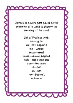 Suffix and Prefix Word Work