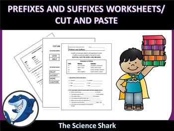 Suffix and Prefix Worksheet/ Cut and Paste -ELA-LITERACY.RF.2.3.D