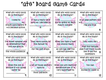 Suffix ate (Find Someone Who, Vocab. Cards, Board Game, Writing Page)