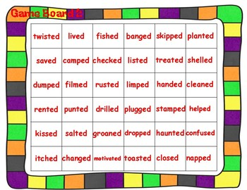 Suffix -ed Spinner Game