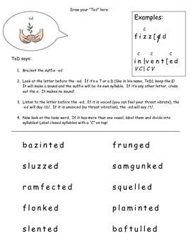 Suffix -ed Syllabication Worksheet
