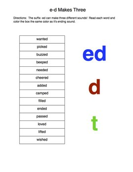"Suffix ""ed"" Worksheet"
