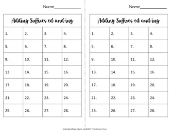 Suffix ed and ing Task Cards