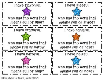 Suffix ful (Find Someone Who, I Have Who Has, Board Game, Quiz)