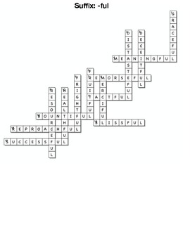 Suffix- -ful crossword, and matching