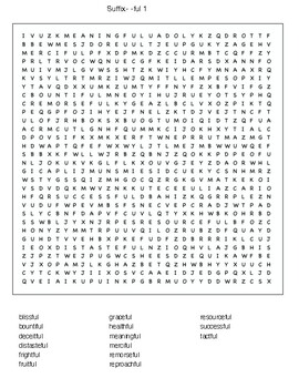 Suffix- -ful word search
