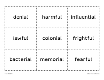 Suffix -ial and -ful Word Sort {Differentiated} + Seat work