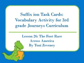 Suffix ion Task Cards for Journeys 3rd Grade