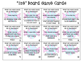 Suffix ize (Board Game, Find Someone Who, Vocabulary Book)