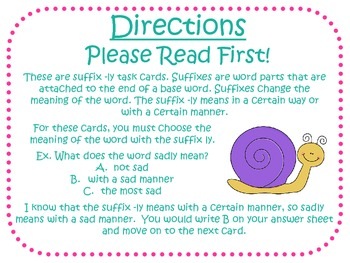 Suffix -ly Task Cards for Journeys Grade 2