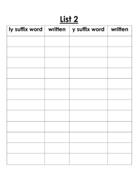Suffix ly and y word sort activty worksheet