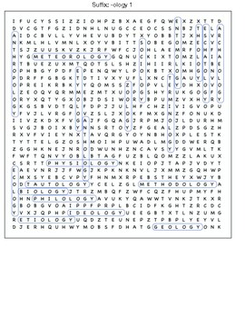 Suffix- -ology word search