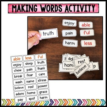 Suffix practice with -able, -ful, & -less