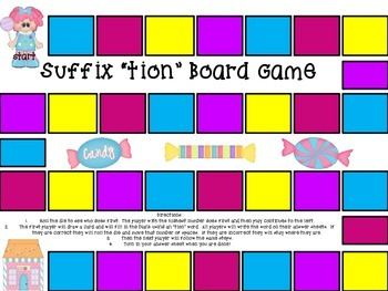 Suffix tion (Board Game, Find Someone Who, Vocabulary Book)