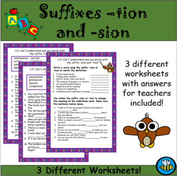 Suffix -tion and -sion