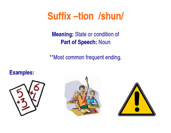 Suffix -tion says /shun/ Poster