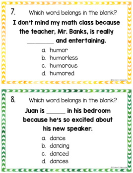 Suffixes Posters, Task Cards, and Printables
