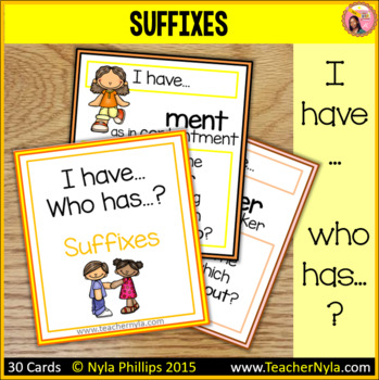 Suffixes 'I Have Who Has' Game
