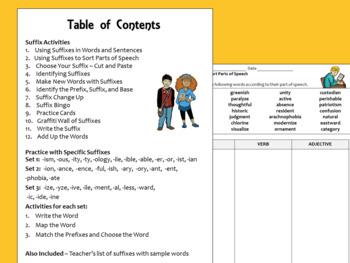 Suffixes Activity Sheets