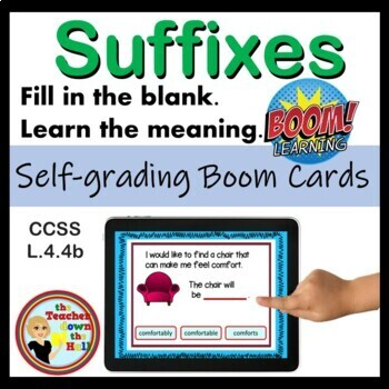 Suffixes - BOOM Cards (32 Multiple Choice Cards) Great Vocabulary Practice!